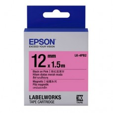 Epson Label Cartridge 12mm Black on Pink Magnetic