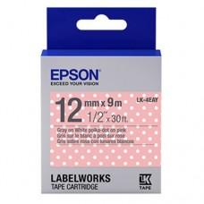 Epson Label Cartridge 12mm Gray on PolkaDot Pink Tape
