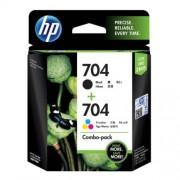 HP 704 Tri-clr/Blk Ink Crtg Combo 2-Pk  - F6V33AA