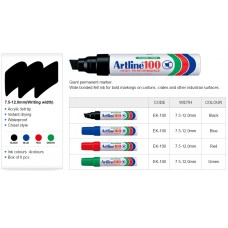 Artline 100 Permanent Markers Black