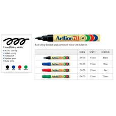 Artline 70 Permanent Markers Black